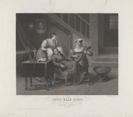 Dwie dziewczyny czuwające przy śpiącej staruszce