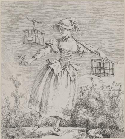 nieznany, Dziewczyna z dwiema klatkami na ptaki