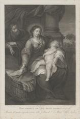 Matka Boska z śpiącym Dzieciątkiem na kolanach, obok kołyski św. Józef