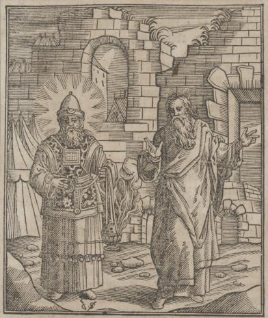 Christoph Młodszy Sichem, Aron i Mojżesz na tle murów miasta