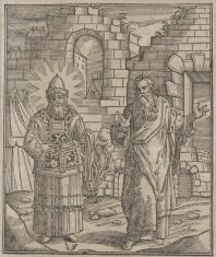 Aron i Mojżesz na tle murów miasta