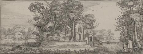 nieznany, Krajobraz z kościołem i sztafażem figuralnym