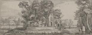 Krajobraz z kościołem i sztafażem figuralnym