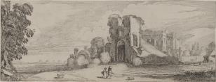 Krajobraz z ruinami zamku i parą wieśniaków z psem