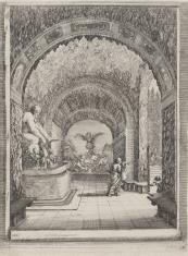 Wnętrze groty ze statuą starca w ogrodach Villa Pratolino koło Florencji