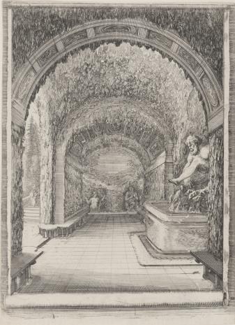 Stefano della  Bella, Wnętrze groty ze statuą starca w ogrodach Villa Pratolino koło Florencji
