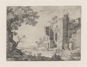 Krajobraz z ruinami budowli i sztafażem figuralnym