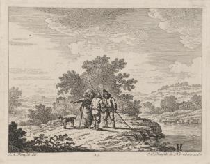 Krajobraz nadrzeczny z grupą trzech wieśniaków z psem