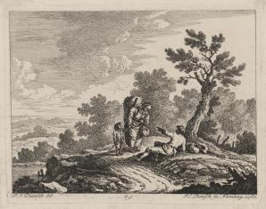 Krajobraz nadrzeczny z kobietą z dzieckiem, rozmawiającą z mężczyzną siedzącym pod drzewem