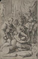 Madonna z Dzieciątkiem na kolanach, adorowana przez świętych