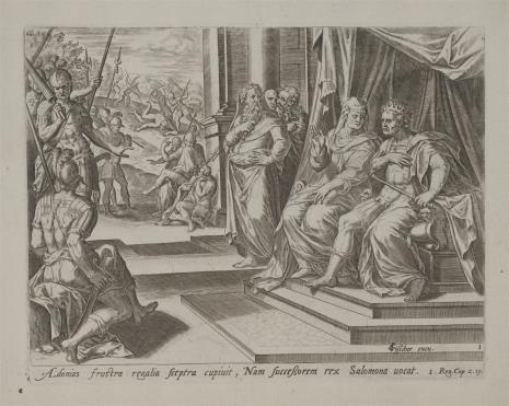 Claes Jansz Visscher, Adoniasz ogłasza się królem
