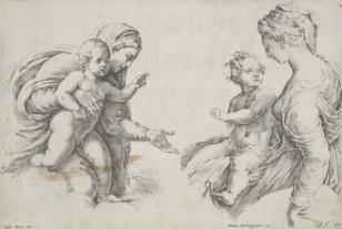 Dwie ryciny na jednej planszy:  1. Madonna obejmująca ręką Dzieciątko  2. Madonna z Dzieciątkiem na kolanach