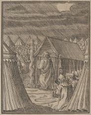 Słup obłokowy staje przed namiotem Mojżesza