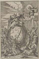 Alegoria religijna - Szatan siedzący na kuli ziemskiej