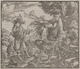 Mojżesz i jeden z potomków Aarona głosem srebrnych trąb zwołują wojska izraelskie