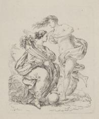 Dwie postacie alegoryczne, z których jedna trzyma róg obfitości