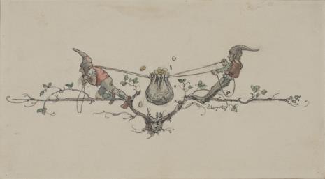 Eduard Unger, Dwa krasnoludki zaciskające wiązanie sakiewki (winieta)