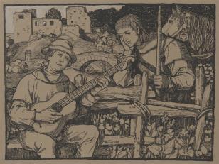 Rycerz słuchający chłopca grającego na wioli