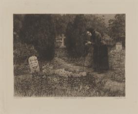Staruszka na cmentarzu