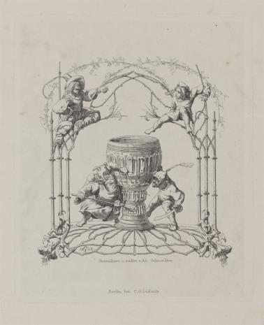 Adolf Schrödter, Winieta z pucharem i z trzema postaciami