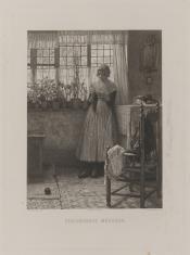 Dziewczyna robiąca na drutach pończochę