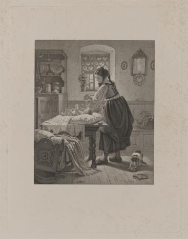 Hugo Bürkner, Wieśniaczka przygotowująca kąpiel dla niemowlęcia