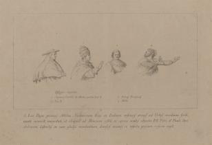 Szkice czterech postaci do ryciny przedstawiajacej