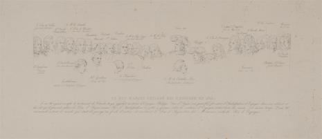 nieznany, Szkice postaci do ryciny przestawiającej obwołanie Filipa ks. Anjou królem Hiszpanii 1700 r.