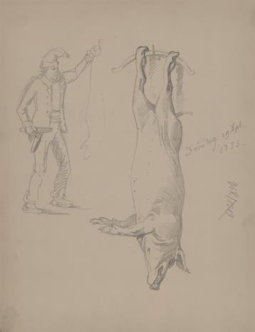 August von Wille, Dwa rysunki: Widok Dörnberg , Martwa maciora i szkic postaci rzeźnika