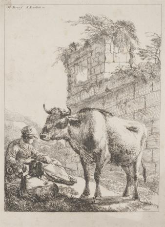 Adam von Bartsch, Pasterz z kozą i krową na tle ruin