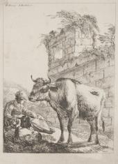 Pasterz z kozą i krową na tle ruin