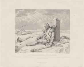 Umierający żołnierz napoleoński, w czasie odwrotu spod Moskwy 1812