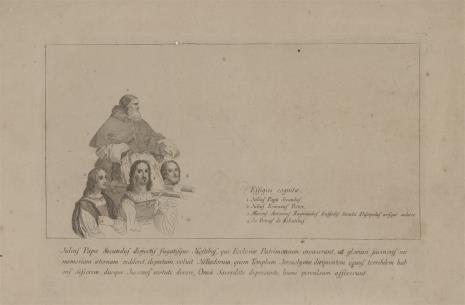 Giovanni Volpato, Szkic postaci z fragmentu ryciny przedstawiającej Wygnanie Heliodora ze świątyni: Juliusz Marc-Antonio Raimondi, Giulio Romano