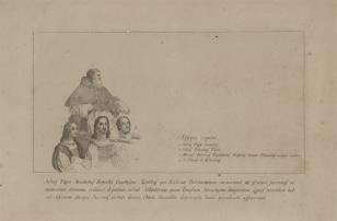 Szkic postaci z fragmentu ryciny przedstawiającej Wygnanie Heliodora ze świątyni: Juliusz Marc-Antonio Raimondi, Giulio Romano