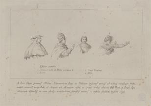 Szkice czterech postaci do ryciny przedstawiającej Spotkanie Leona z Attylą