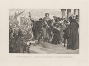 Cesarz Fryderyk Barbarossa żegna w Ratyzbonie swą rodzinę wyruszając na wyprawę krzyżową