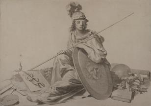 Minerwa siedząca wśród atrybutów Wiedzy i Sztuki