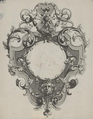 Pierre Edme Babel, Kartusz z motywem okuciowym, liśćmi akantu i maszkaronem