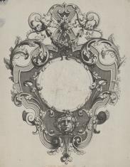Kartusz z motywem okuciowym, liśćmi akantu i maszkaronem