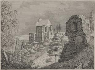 Widok ruin zamkowych z kaplicą