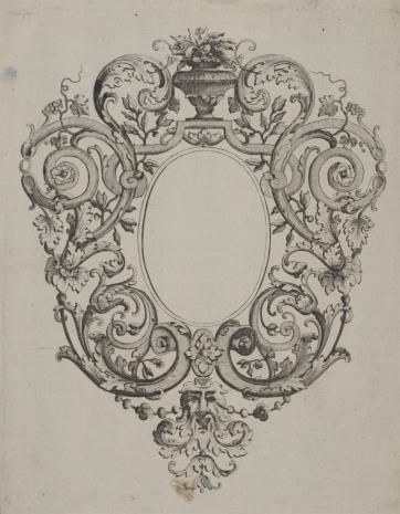 Pierre Edme Babel, Kartusz z motywem rolwerku, liści akantu i maszkaronem