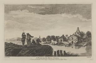 Widok wioski nad rzeką Severn