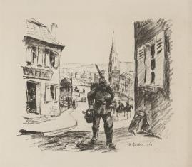Żołnierz niosący kosz