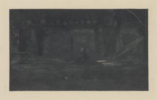 Wnętrze mrocznej izby kuchennej