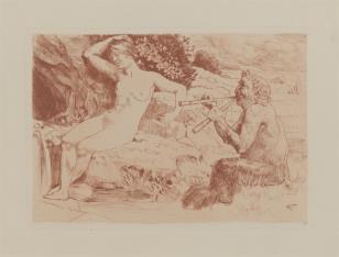 Nimfa i Faun grający na fletach