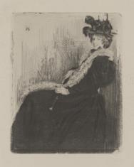 Kobieta w futrzanym szalu