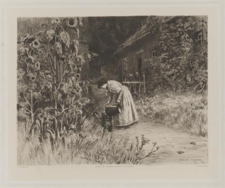 Philipp Franck, Kobieta podlewająca kwiaty w ogrodzie