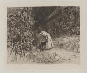 Kobieta podlewająca kwiaty w ogrodzie