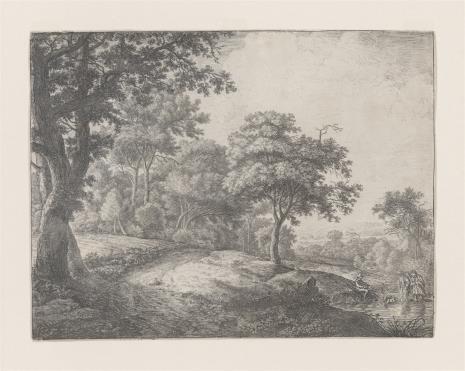 Anthony Waterlo, Krajobraz z parą wieśniaków z psem, przechodzących przez strumień