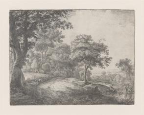 Krajobraz z parą wieśniaków z psem, przechodzących przez strumień
